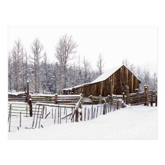 Scheunen-Szenen-Fotografie Snowy ländliche Postkarte