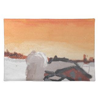Scheunenbauernhofhaus-Sonnesonnenuntergang, der Stofftischset