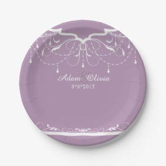 Schicke Blumenleuchter-Lavendel-Hochzeit Pappteller