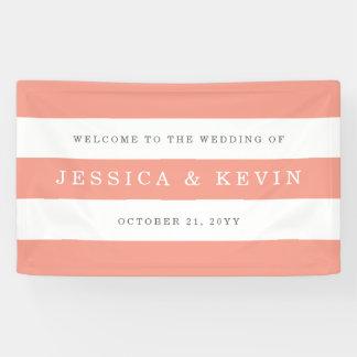 Schicke Koralle Stripes Hochzeit Banner