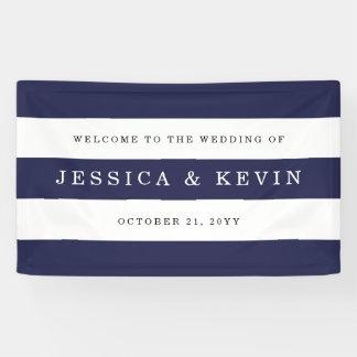 Schicke Marine Stripes Hochzeit Banner