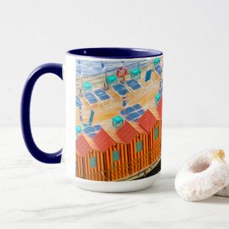 Schicke orange und blaue Cabanas-Strand-Art Tasse