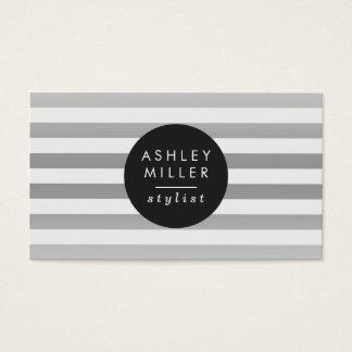 Schicke silberne Streifen Visitenkarte