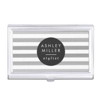 Schicke silberne Streifen Visitenkarten-Behälter