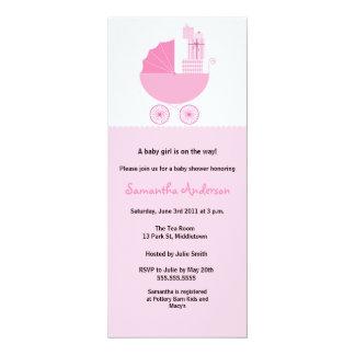 Schicke Wagen-Babyparty-Einladung - Mädchen 10,2 X 23,5 Cm Einladungskarte