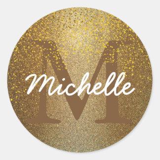 Schicker Goldconfetti-Monogramm-Namen-runder Runder Aufkleber