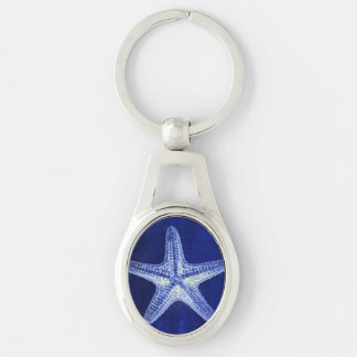 schicker Küstenstrand rustikale blaue Schlüsselanhänger