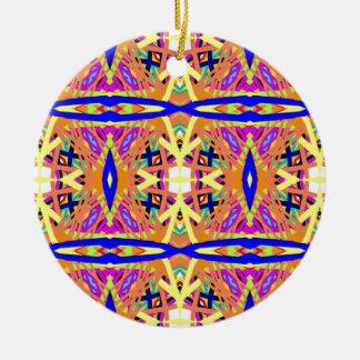 Schicker Pfirsich-blaues gelbes Stammes- Muster Rundes Keramik Ornament