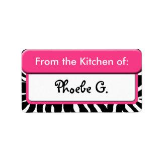 """Schicker rosa Zebra-Druck """"von der Küche"""" der Aufk Adressaufkleber"""