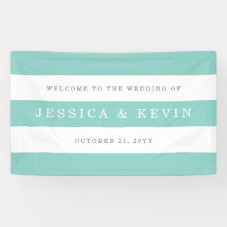 Schickes Aqua Stripes Hochzeit Banner