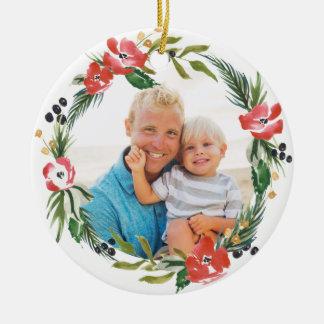 Schickes Aquarell-Blumenfeiertags-Verzierung Rundes Keramik Ornament