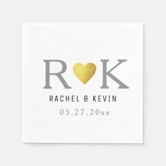 schickes elegantes Hochzeitsmonogramm Papierservietten
