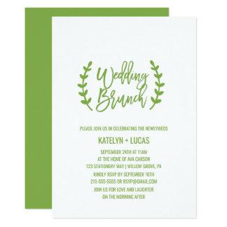 Schickes Grün winden Kalligraphie-Hochzeits-Brunch 12,7 X 17,8 Cm Einladungskarte