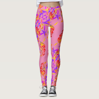 Schickes Mehrfarbenblumendes musters Rosa weich Leggings