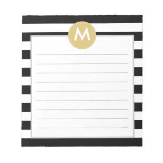 Schickes Schwarzes Stripes Monogramm-Auflage Notizblock