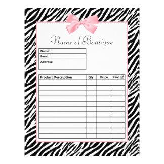 Schickes Zebra-Druck-Licht-wahres rosa 21,6 X 27,9 Cm Flyer