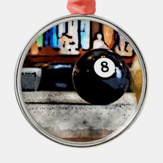 Schießen für den Ball acht Rundes Silberfarbenes Ornament