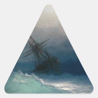 Schiff auf stürmischen Meeren, Iwan Aivazovsky Dreieckiger Aufkleber