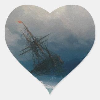 Schiff auf stürmischen Meeren, Iwan Aivazovsky Herz-Aufkleber