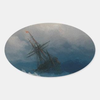 Schiff auf stürmischen Meeren, Iwan Aivazovsky Ovaler Aufkleber