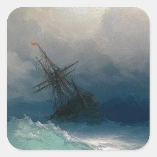 Schiff auf stürmischen Meeren, Iwan Aivazovsky - Quadratischer Aufkleber