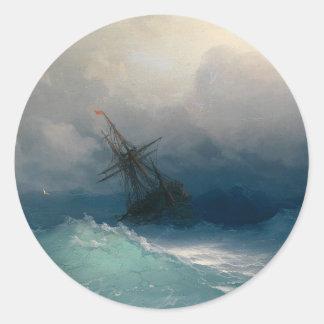 Schiff auf stürmischen Meeren, Iwan Aivazovsky Runder Aufkleber