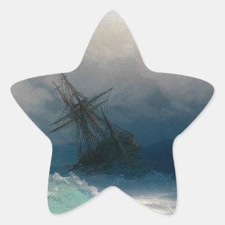 Schiff auf stürmischen Meeren, Iwan Aivazovsky - Stern-Aufkleber