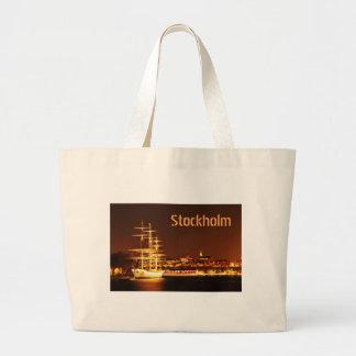 Schiff nachts in Stockholm, Schweden Jumbo Stoffbeutel