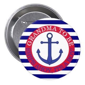 Schiffe ahoi, sein ein Jungen-Babyparty-Knopf Runder Button 7,6 Cm