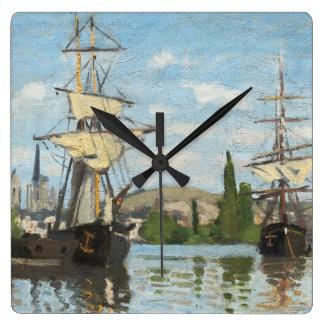 Schiffe Claude Monets |, die auf die Seine in Quadratische Wanduhr
