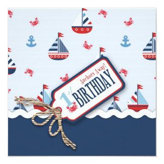 Schiffs-ahoi Geburtstag laden Quadrat 1 ein Quadratische 13,3 Cm Einladungskarte