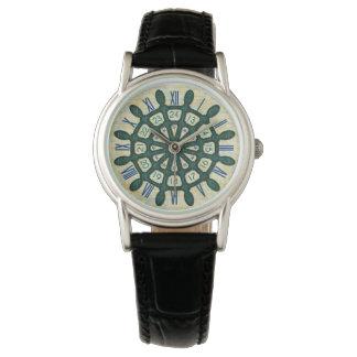 Schiffs-Helm-hölzerner Rad-Seeseemann-aquamarine Uhr