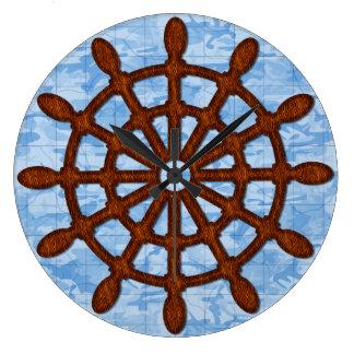 Schiffs-Helm-Rad-alte Karten-blaues Seemeer Große Wanduhr