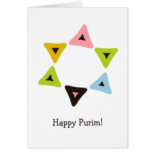 Schild von Hamantaschen Purim Karte
