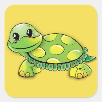Schildkröte-Aufkleber Quadratischer Aufkleber