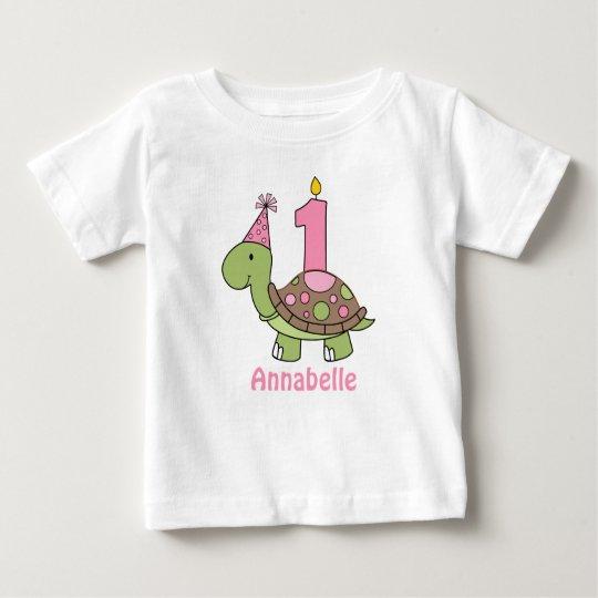 Schildkröte-erstes Geburtstags-T-Shirt Baby T-shirt