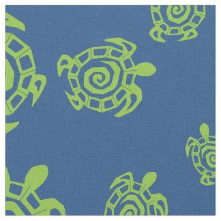 Schildkröte-grüne und Blaupause Stoff