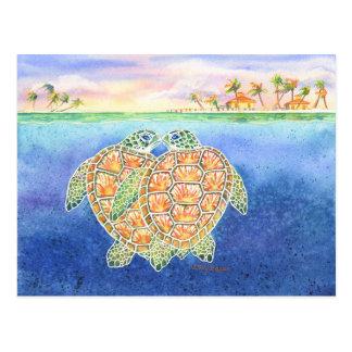Schildkröte-Liebe Postkarte