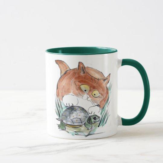 Schildkröte-Umbau - Kätzchen sagt, dass Sie es Tasse