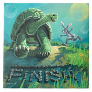 Schildkröte und die Hase-Kunst Fliese