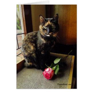 Schildpatt-Katzen-und Rosen-Gruß-Karte Karte