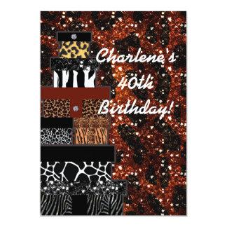 Schillernde bezaubernde Geschenk-Tierdruck-Party 12,7 X 17,8 Cm Einladungskarte