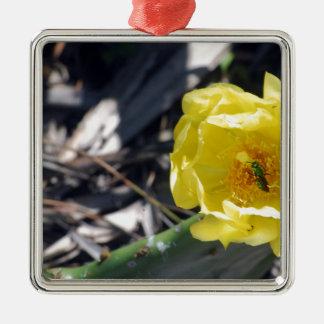 schillernde Biene auf nopales Blume Silbernes Ornament