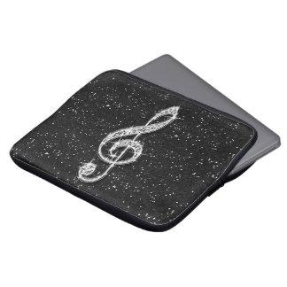 Schillernde funkelnd Diamant-Musik-Druckanmerkung Laptop Sleeve