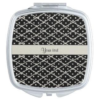 Schillernde funkelnd silberne Glitter-Polka-Punkte Taschenspiegel