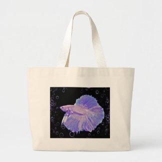 Schillernde lila kämpfende Fische Jumbo Stoffbeutel