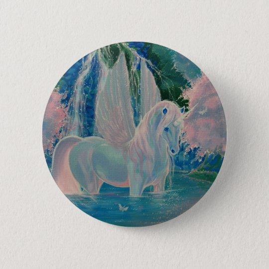 """""""Schillernde Welt"""" Winged Unicorn-Abzeichen/Knopf Runder Button 5,7 Cm"""