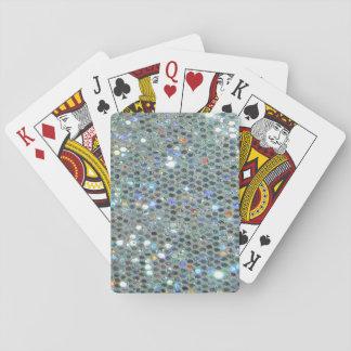 Schillernder funkelnd silberner Glitter Bling Spielkarten