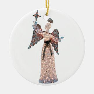 SCHIMMERNDE ENGELS-WEIHNACHTSverzierung UND Rundes Keramik Ornament