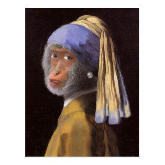 Schimpanse mit dem Perlen-Ohrring Postkarte